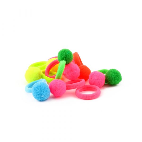 Colored Pom Ball Elastic Hair Ties Multi Color