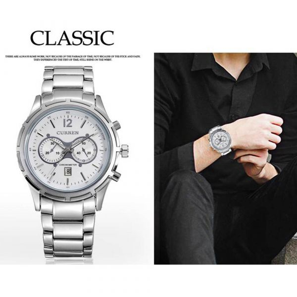 Curren Leisure Style Fashion Watch Stainless Steel Unique Design Silver Color M8025