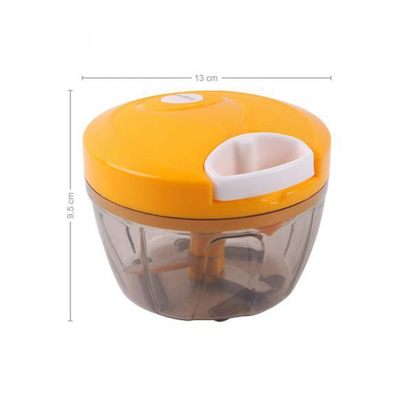 Classy Touch Manual Food Chopper 3 Blades (500 ML/2 Cup Capacity) Yellow & White