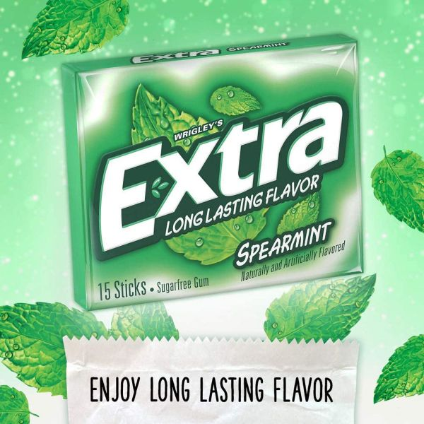 Wrigley's Extra Long Lasting Flavor Spearmint Naturally And Artificially Flavored 15 Stick